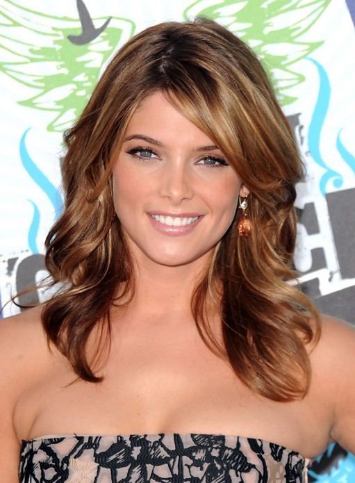 Ashley Greene Medium Hairstyle with Side Swept Bangs