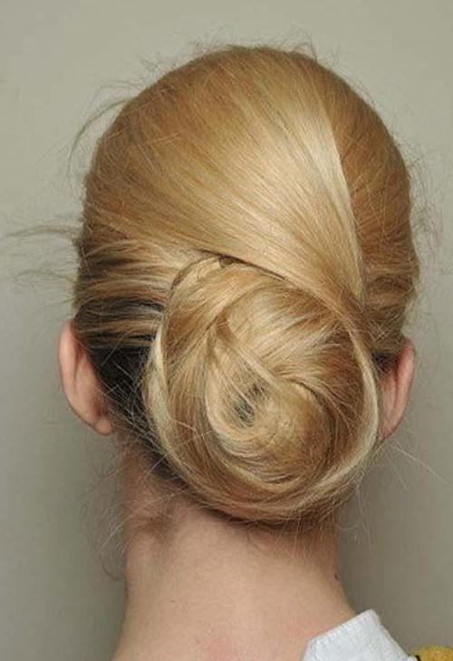 Back View of Low Swirling Highlighted Chignon Updo