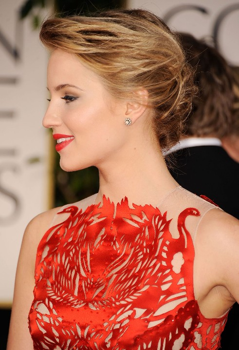 Dianna Agron Red Carpet Casual Updo Hairstyle | Styles Weekly