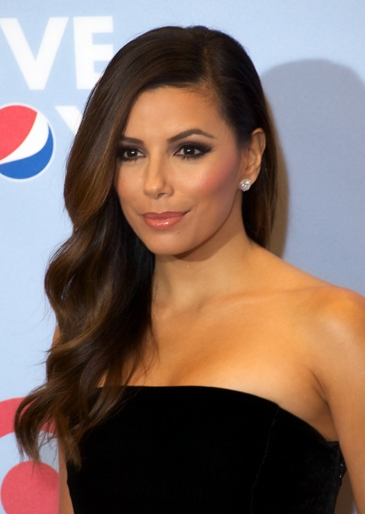 Eva Longoria Side Parting Long Hairstyle