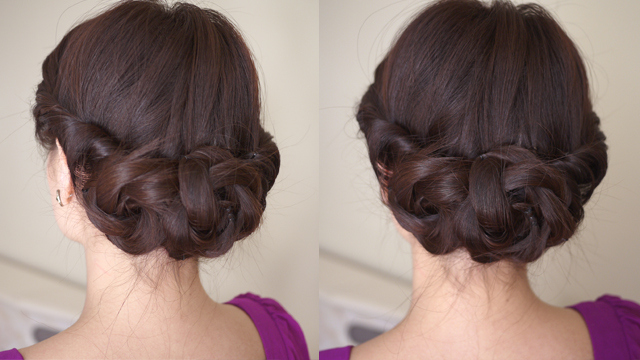 Graceful Twist & Braid Low Chignon for Wedding