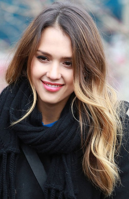 Jessica Alba Long Ombre Hair Styles