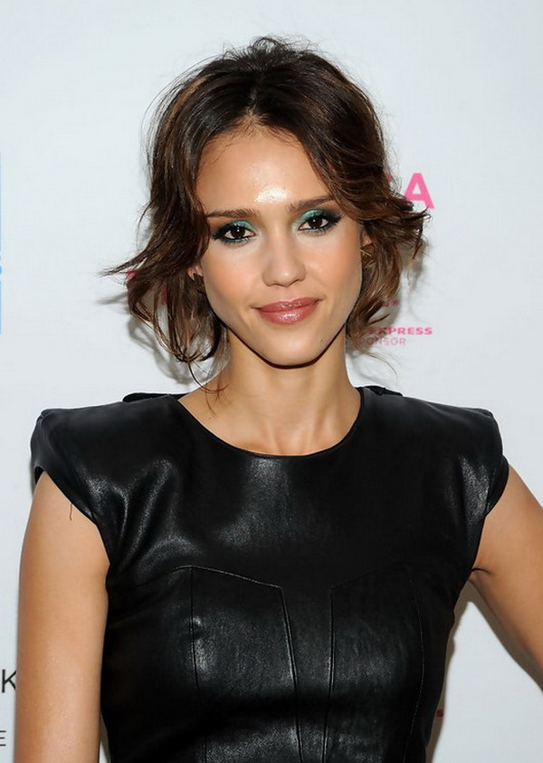 Jessica Alba Messy Updo for Short Hair