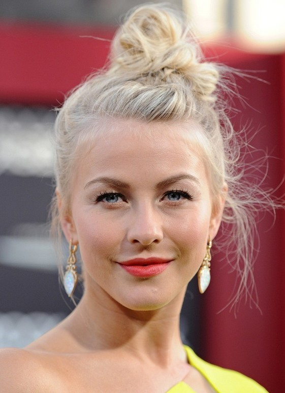 Julianne Hough Messy High Knot Updo