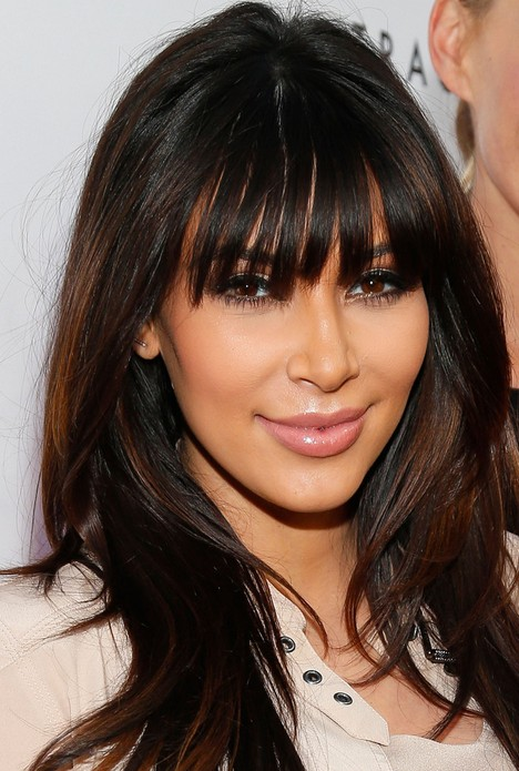 Kim Kardashian Long Straight Cut with Bangs