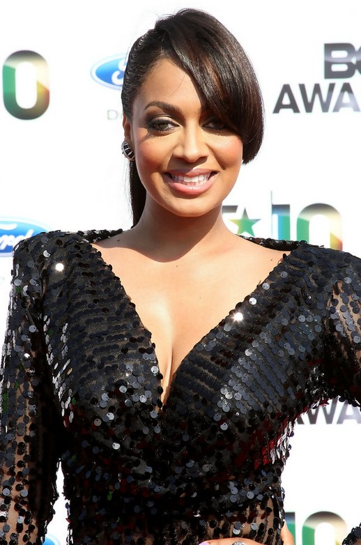 La La Anthony Ponytail Hairstyles with Bangs