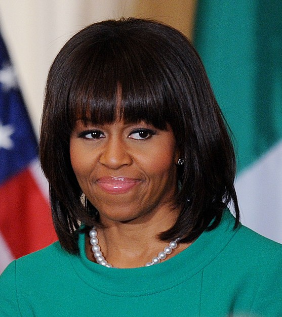 micro braid updo hairstyles : Michelle Obama Bob Hairstyle ? black straight haircut with blunt ...