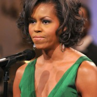 Michelle Obama Short Curly Bob