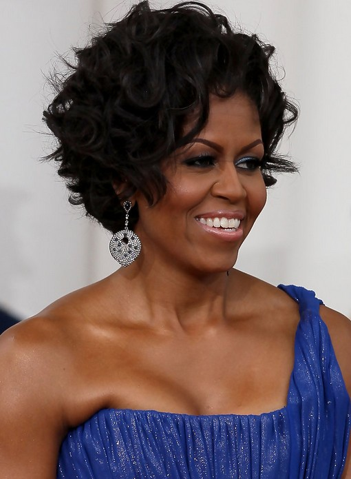 Michelle Obama Short Curly Hairstyles