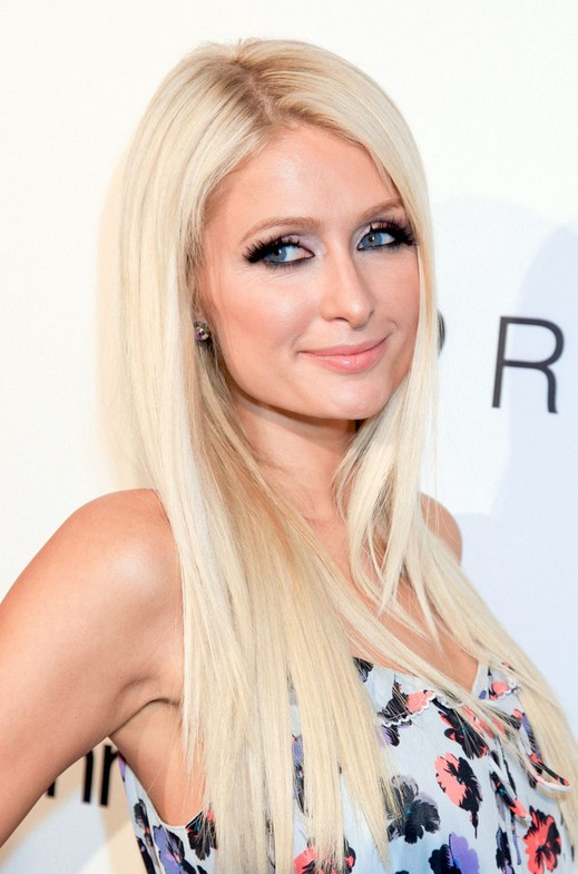 Paris Hilton Long Platinum Blonde Straight Hairstyles