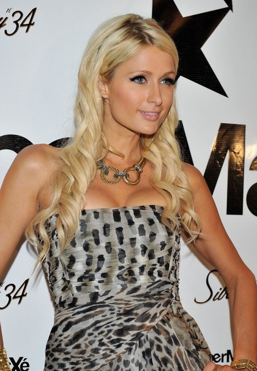 Paris Hilton Platinum Curly Hairstyle