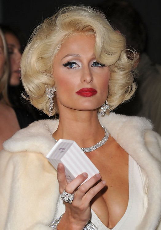 Paris Hilton Short Blonde Curly Bob Hairstyles