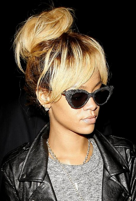 Rihanna High Bun Updo