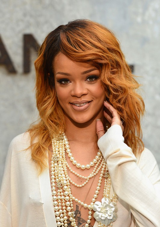 Rihanna Long Burnt Red Hairstyle