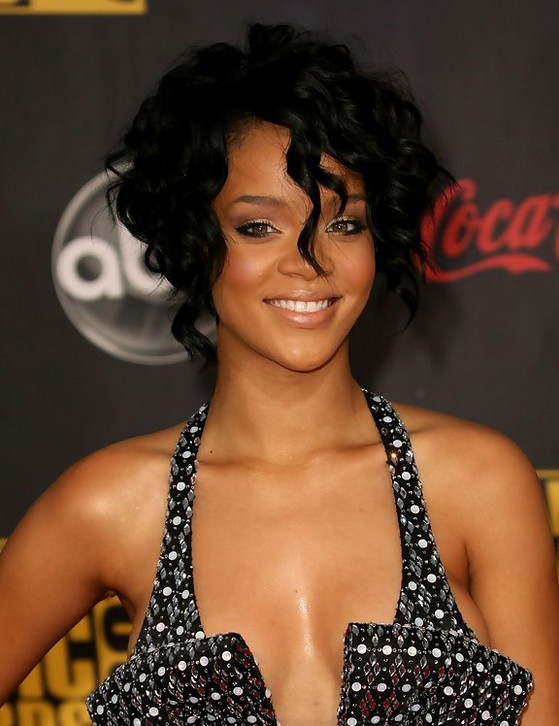 Rihanna Short Black Curly Bob Hairstyle