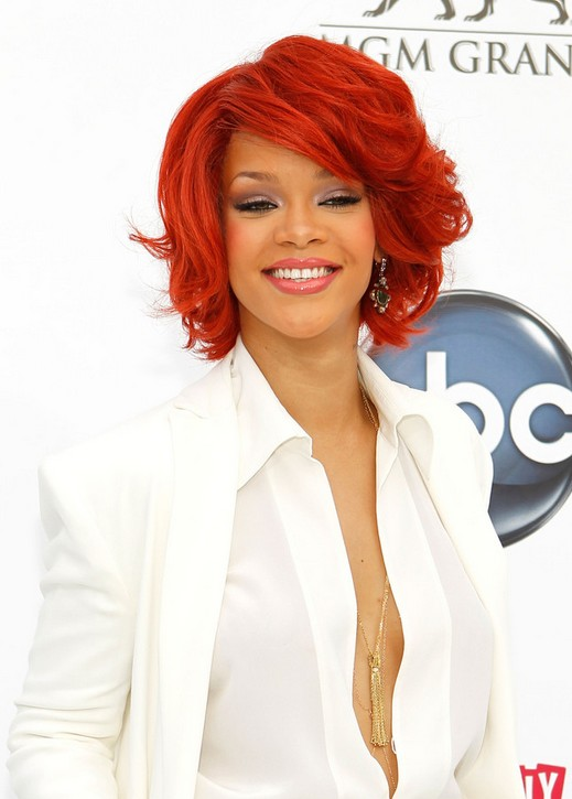 Rihanna Short Red Bob Cut