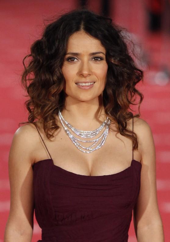 Salma Hayek Curly Ombre Hair