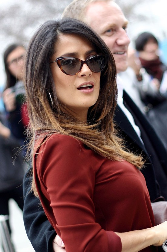 Salma Hayek Layered Ombre Hair