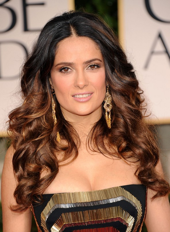 Salma Hayek Long Wavy Hairstyles