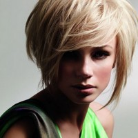 Short Hairstyles 2014 Sleek Blonde Bob Cut with Long Bangs