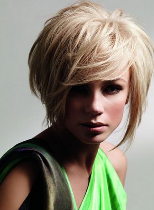 Short Hairstyles 2014 Sleek Blonde Bob Cut with Long Bangs