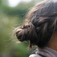 Side View of brunette bun for Summer