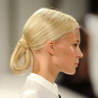 Sleek Blonde Loop Chignon