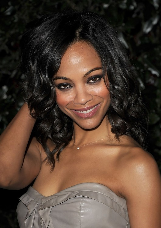 Zoe Saldana Medium Curly Hairstyles