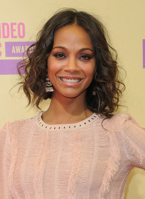 Zoe Saldana Shoulder Length Hairstyles