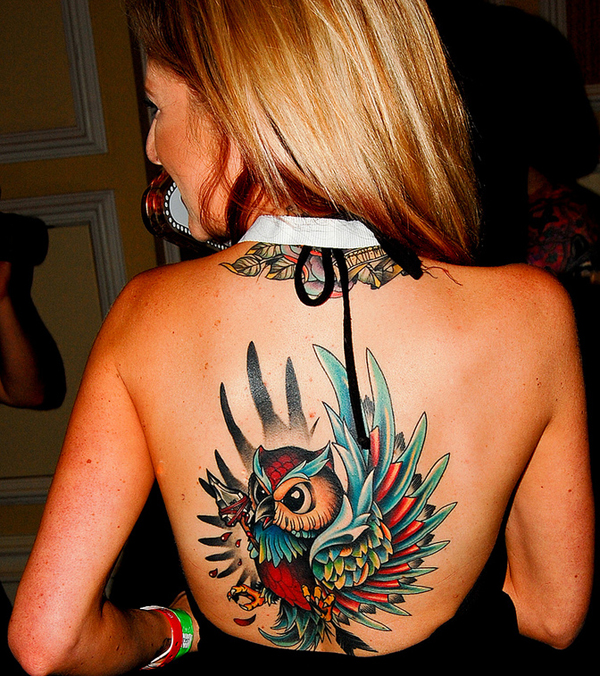 Bird tattoo on back
