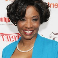 Adriane Lenox Short Curly Bob Hairstyle for Black Women