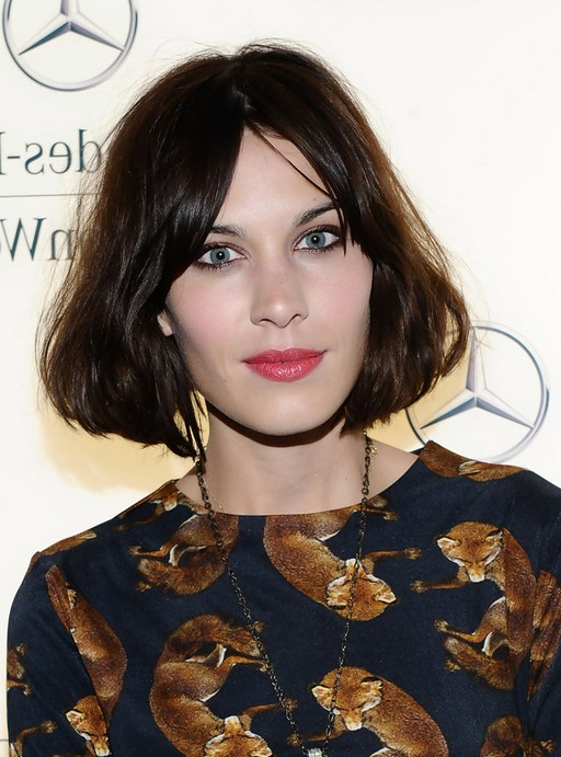 Alexa Chung Short Dark Brown Bob Hairstyle with Bangs