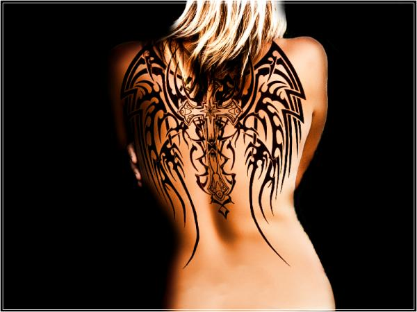 Angel Cross Wings Tattoo on Back