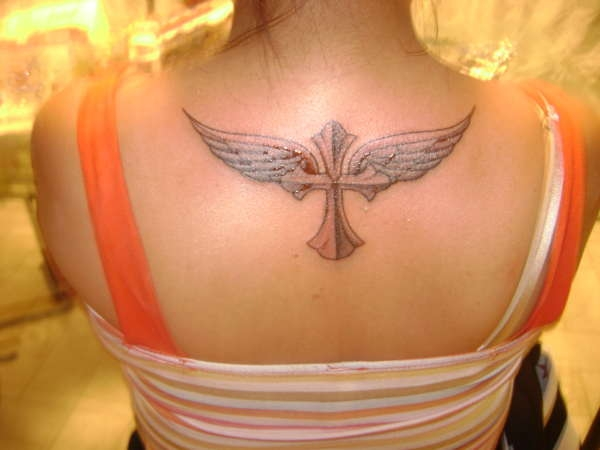 Angel Wings With Cross Tattoo on Back