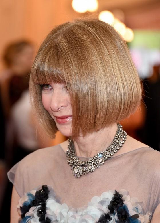 Short Sleek Aline Bob with Blunt Bangs - Anna Wintour Short Haircut