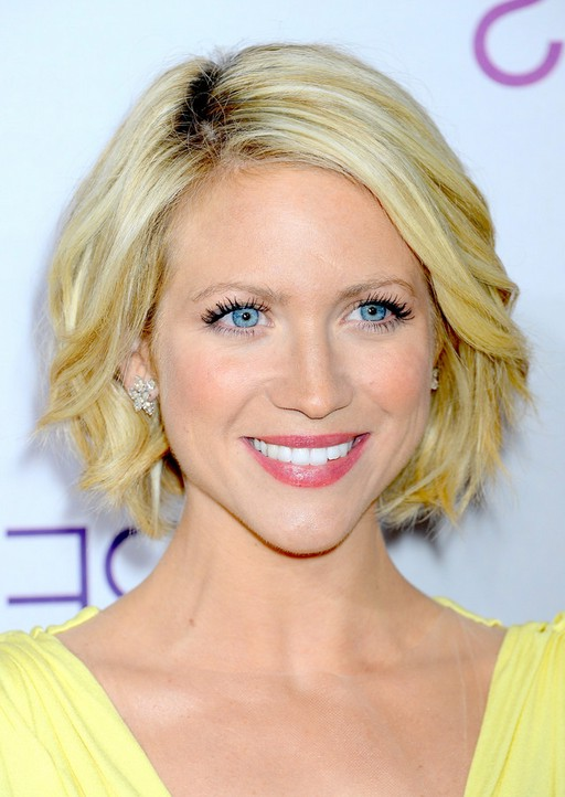 Brittany Snow Blonde Curly Bob Hairstyle
