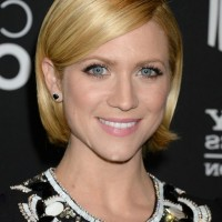Brittany Snow Short Golden Bob Haircut with Bangs for Thin Hair