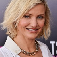 Cameron Diaz Casual Textured Platinum Blonde Bob Hairstyle