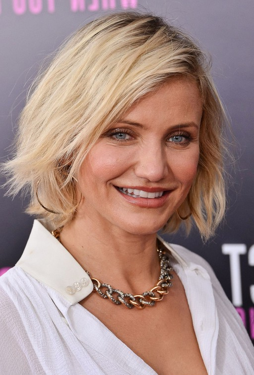 Cameron Diaz Casual Textured Platinum Blonde Bob Hairstyle | Styles ...