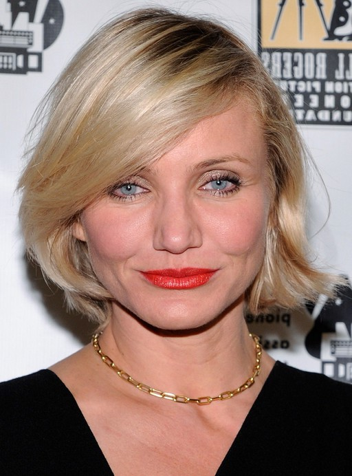 Cameron Diaz Short Bob Hairstyle With Side Swept Bangs Styles Weekly