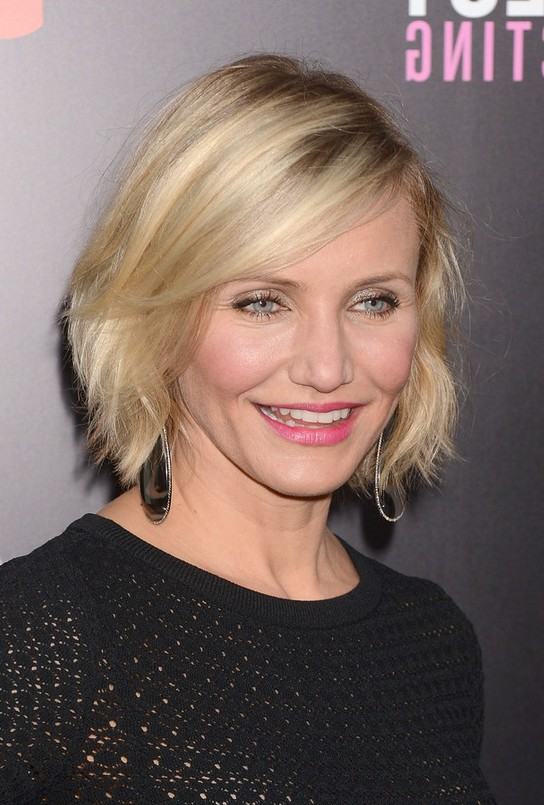 Cameron diaz short messy bob hairstyle with bangs styles weekly