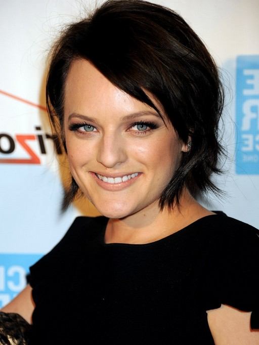 Elisabeth Moss Short Dark Bob Hairstyle with Bangs