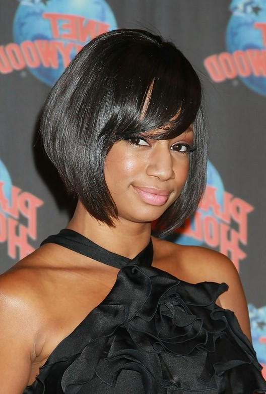Female Celebrity Monique Coleman Short Graduated Bob Hairstyle For