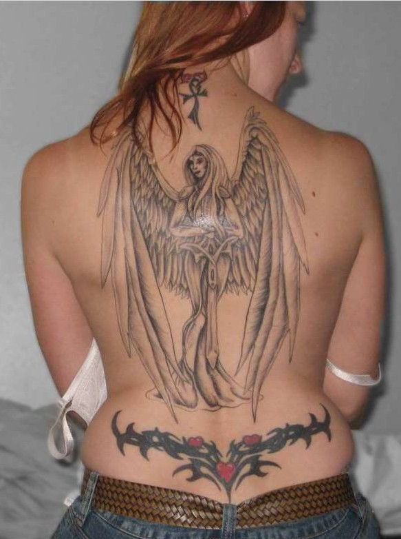 Full Back Angel Tattoos for Women