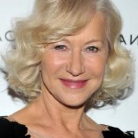 Helen Mirren Chic Short Blonde Curly Bob Hairstyle for Women Over 60