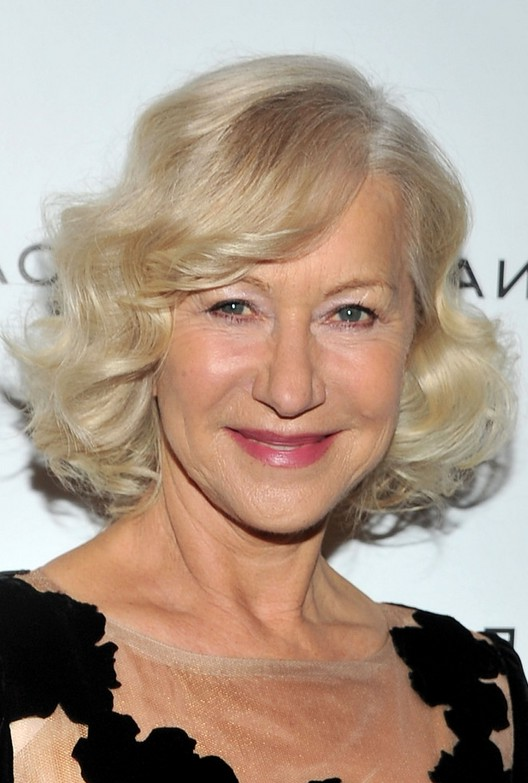 Helen Mirren Chic Short Blonde Curly Bob Hairstyle For Women Over 60