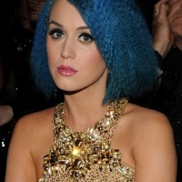 Katy Perry Short Blue Tousled Curly Bob Hairstyle