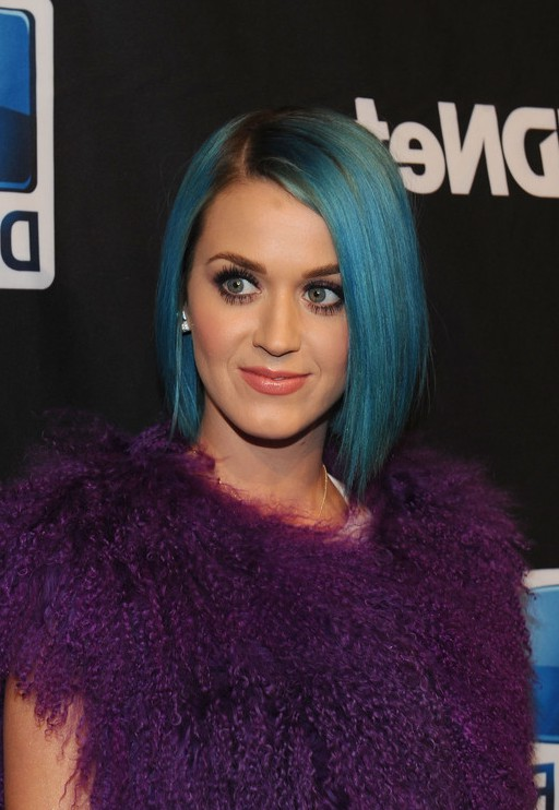 Katy Perry Short Straight Angled Blue Bob Hairstyle