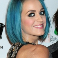 Katy Perry Short Straight Blue Bob Hairstyle