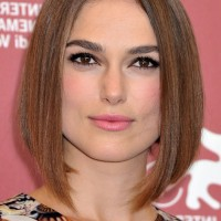 Keira Knightley Center Parted Medium A Line Bob Haircut